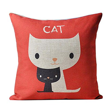Two Cute Cats Print Red Pillow Case