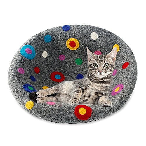 Multi-Color Natural Felted Wool Cat Cave