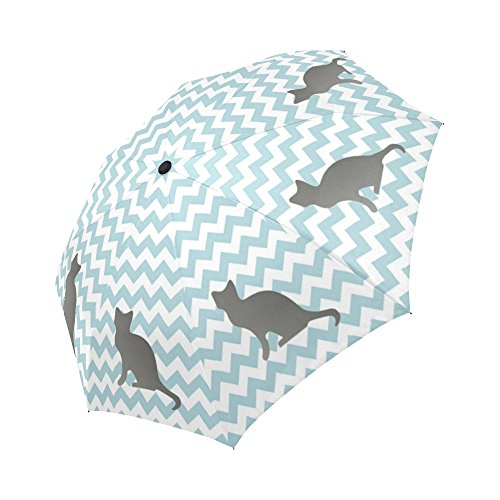 Cat Silhouettes with Blue Lines Windproof Umbrella