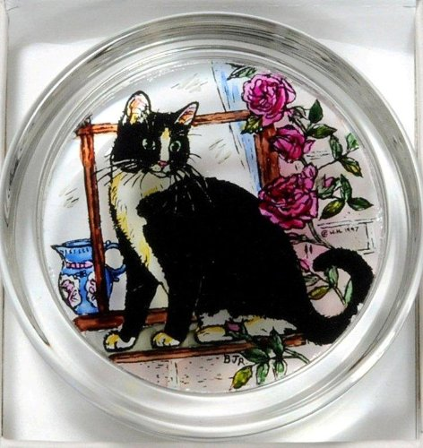 Hand Cat Painted Stained Glass Paperweight, 2.75 x 2.75 x 0.8 inches