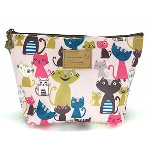 Colorful Cats Print Make-Up Accessory Tote Bag