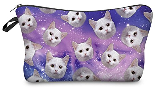 Cats Flying in the Galaxy Printed Make Up Bag