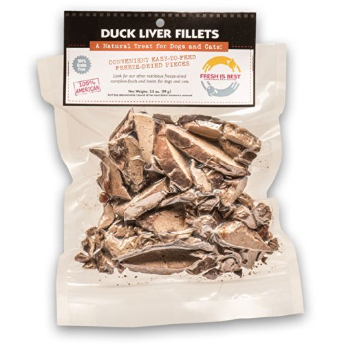 Fresh Is Best Freeze Dried Duck Liver Fillets, Pet Treats, 3.5oz.