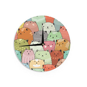 "Snap Studio ""Kitty Attack"" Cat Illustration Wall Clock, Wood"
