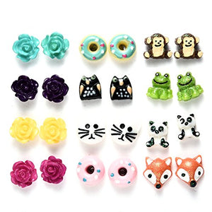 12 Pairs Cute Earrings Total and Complete with Post Back Closures