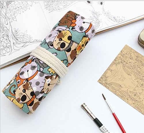 Canvas Cute Cat Colored Multi-purpose Pencil Wrap