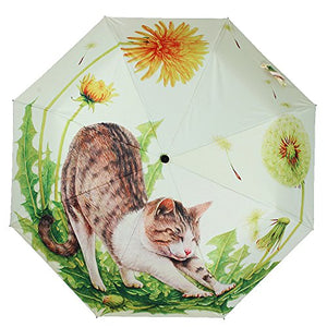 Anti-skid Matte Handle Anti-UV Folding Umbrella, Charming Cat in Nature