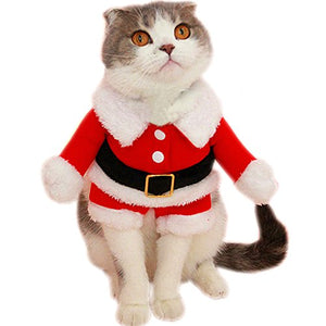 christmas santa claus suit costume for small cats