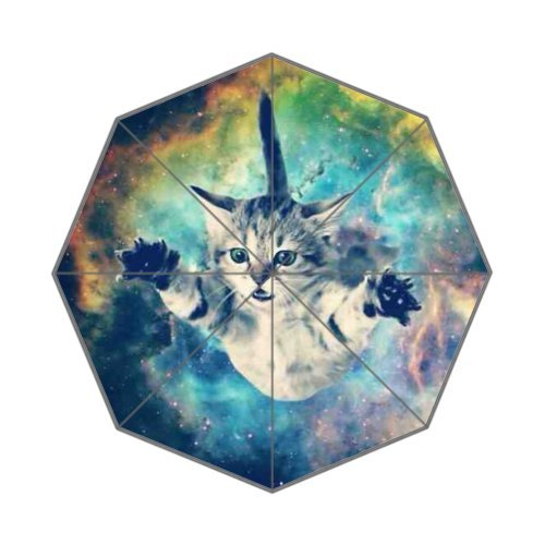 Cat Flying in Galaxy Themed Umbrella, 11.5 x 1.8 x 1.5 inches