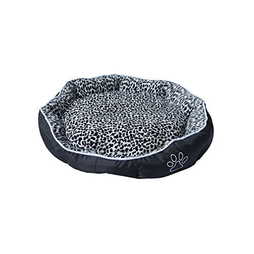 Black and White Leopard Print Blush Bed for Pets