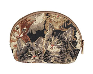 Tapestry Cosmetic Make-up Bag with Cat Design by Signare