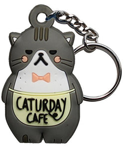 Caturday Cafe Gray Fat Cat Shaped Keychain