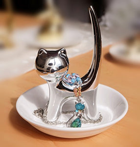 Silver Tail Cat Ring Dish Holder Trays For Jewelry, 5.1 x 4.5 x 4.4 inches