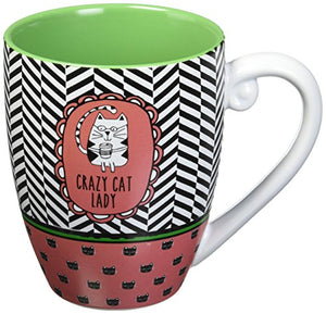 Bright Green and Pink Chevron Patterned Large Coffee Mug for Cat Lovers