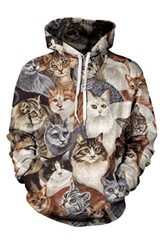 Polyester Cats Printed Womens Hoodie Pullover