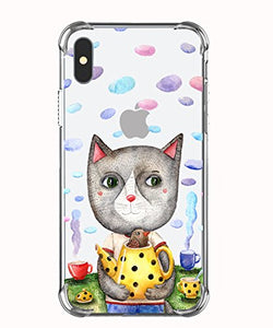 iPhone X Clear Case With Funny Cute Cartoon Cat Design Cases