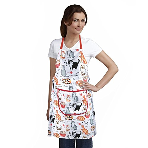 Cat Print Apron by Home-X, Silly Siamese, furry calicos, pretty Persians