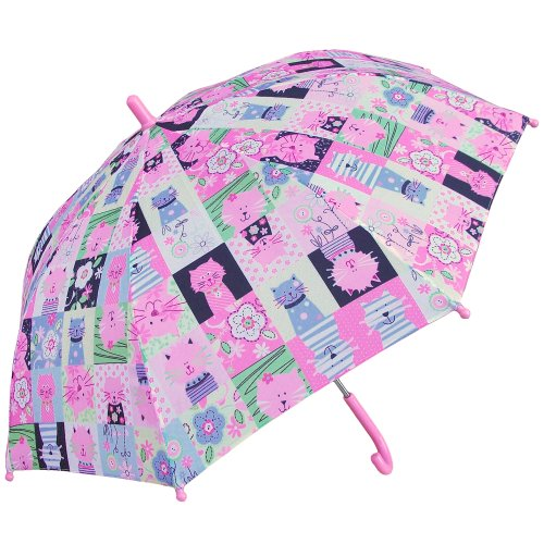 RainStoppers Girl's Cats Print Umbrella, 34-Inch