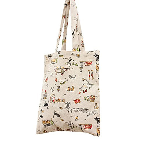 White Tote Bag with Funny Playful Cat Illustration