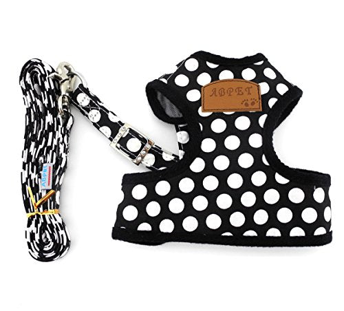 Soft Mesh Nylon Vest Pet Harness Leash Set, Black - White