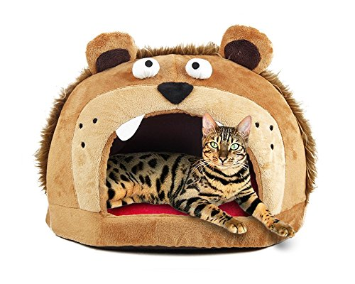 Funny Lion Head Design House for Cats, 17 x 12 x 5 inches