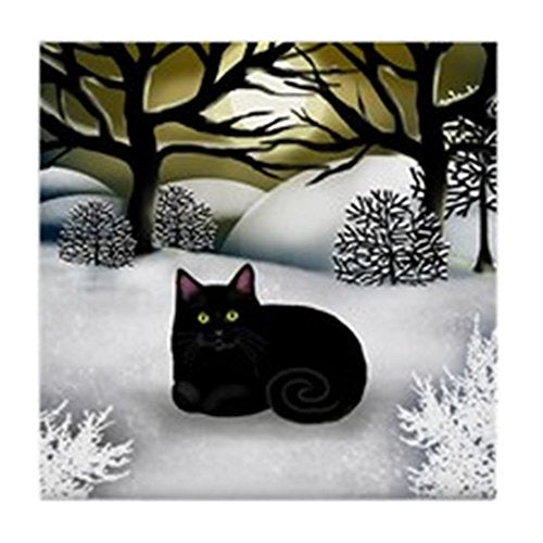 Black Cat Winter Sunset Tile Coaster, 4.25