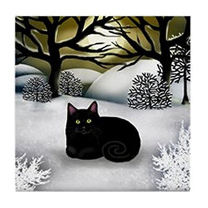 "Black Cat Winter Sunset Tile Coaster, 4.25"" x 4.25"""