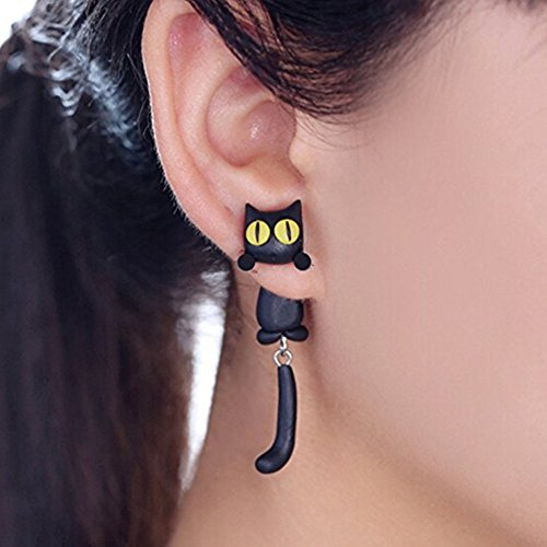 Handmade Black Cartoon Cat with Yellow Eyes Earrings