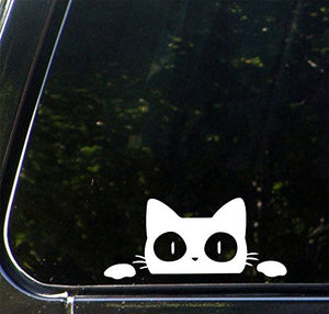 White Cat Peeking Design Vinyl Car Decal Sticker