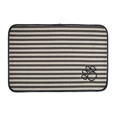 DII Bone Dry Small Microfiber Stripe Pet Mat for Food
