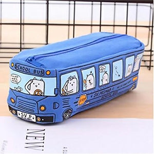 Cute Cartoon Style Cats in School Bus Pencil Case