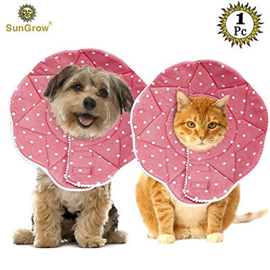 Cute Comfy Cone Recovery Collar by SunGrow, Hearty Pink