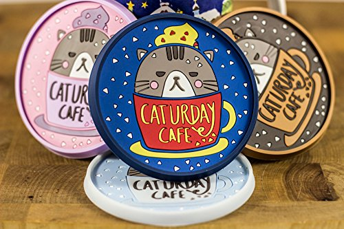 Set of 4 Colorful and Sturdy Coasters with Cute Cat Illustrations