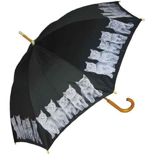 Light and Durable Grey Cats Printed Black Umbrella