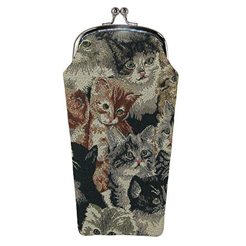Women's Cat Print Tapestry Glasses Case, Kiss lock closure
