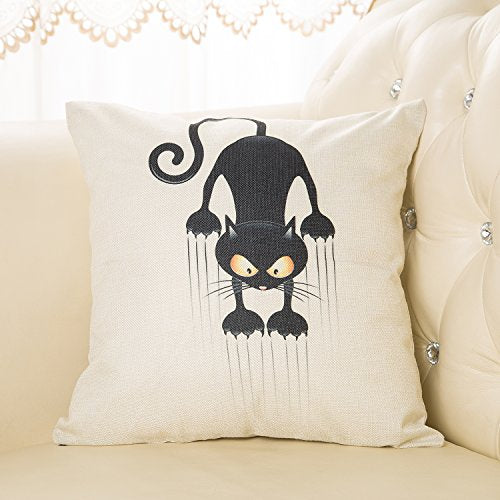 Climbing Yellow Eye Black Cat Pillowcase