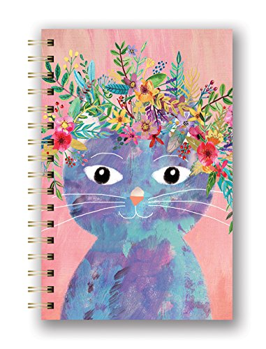 Plant Cat Hardcover Spiral Notebook, 160 lined pages
