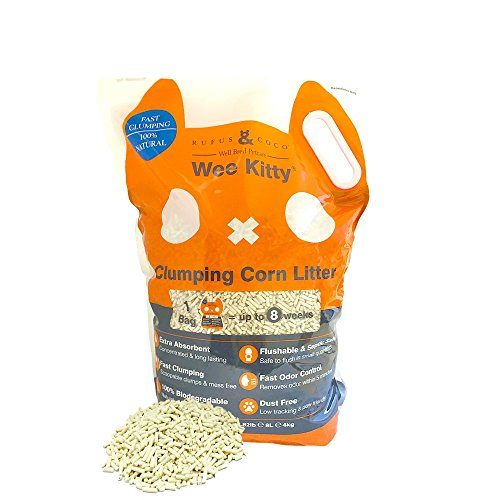 Wee Kitty Clumping Corn Cat Litter, Made from Biodegradable Corn