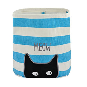 Territory Canvas Storage Bin with Cat/Teal Blue Print