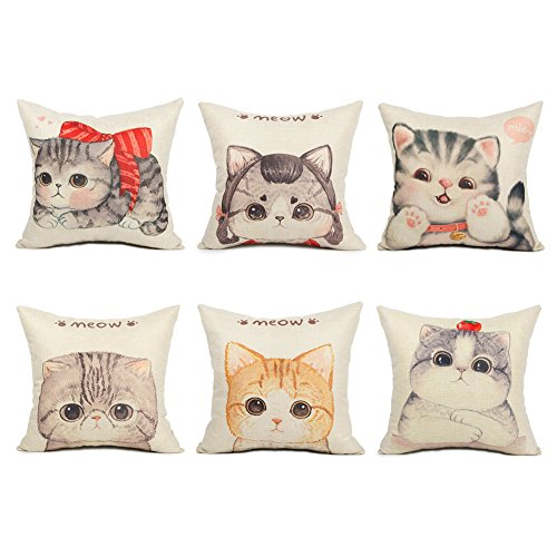 Pretty Cat Cotton Linen Square Throw Pillow Cases by Top Finel