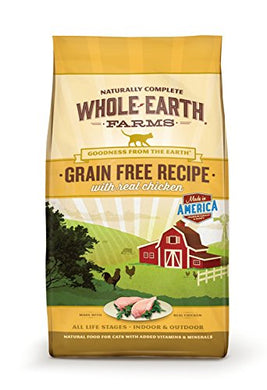 Grain Free Recipe Dry Cat Food by Whole Earth Farms, Chicken, 10 lb