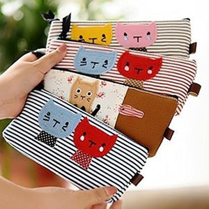 4 Different Styles of Cartoon Cat Stripe Pencil Case