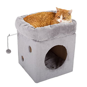 Cat Box House with Removable Cushion