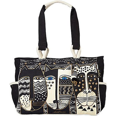 Black & White Three Cats Medium Canvas Tote Bag by Laurel Burch