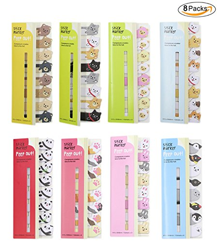 Colorful Cute Animals Pattern Design Sticker Bookmarks