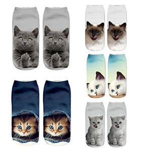 5 Pack Crazy Cats Prints Short Ankle Low Cut Socks