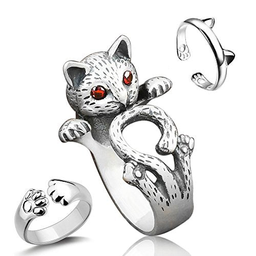 Silver Alloy Cat Rings in 3 Pieces with Red Eyes
