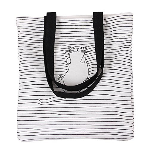 Lazy Cat Lie Down on Black Lines Tote Shoulder Bag White