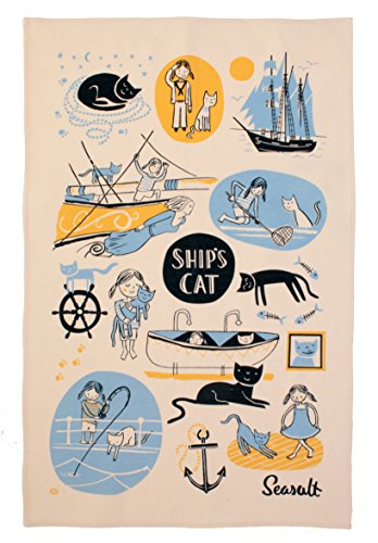 Seasalt Ships Cat Tea Towel by Ulster Weavers, 18.9