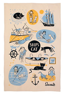 "Seasalt Ships Cat Tea Towel by Ulster Weavers, 18.9""x29.2"""